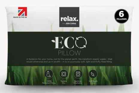Groupon Goods Global GmbH - Six Pack of John Cotton Relax Eco Pillows - Save 77%