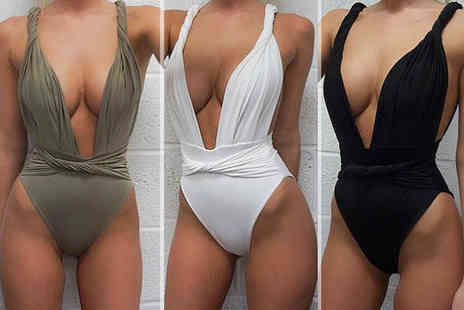 Trifolium Lingerie - High waist deep plunge twist strap swimsuit choose from three colours - Save 78%