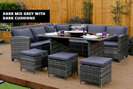Abreo - Nine seater rattan corner outdoor sofa and dining table set choose - Save 66%