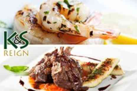 K&S Reign - 2 course fusion meal for 2 including starter, main & side - Save 63%
