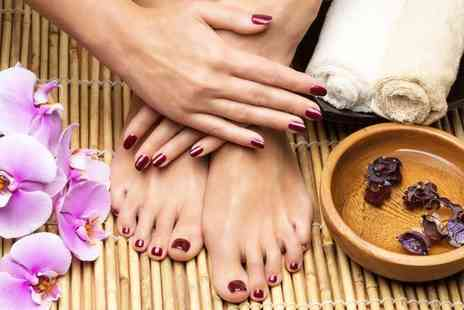Val Beautique Salon - Shellac manicure or manicure and pedicure - Save 64%