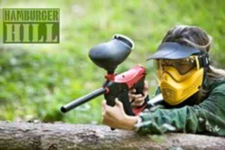 Hamburger Hill - Paintballing and Two Course Lunch For Five With 100 Paintballs Each - Save 91%