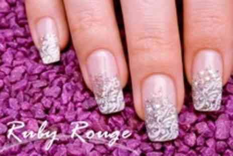 Ruby Rouge - Shellac Manicure and Pedicure With Crystal Nail Art - Save 61%