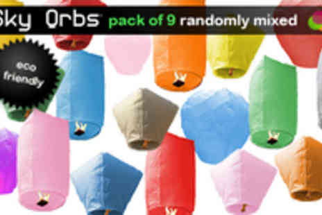 "Sky Orb - Pack of Nine Eco-Friendly Sky Orb Flying Lanterns in Assorted Shapes and Colours for only £12 â€"" (usually £26.71) - Save 55%"