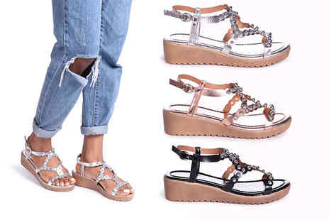 Linzi - Pair of wedge metallic studded sandals choose from three colours - Save 45%