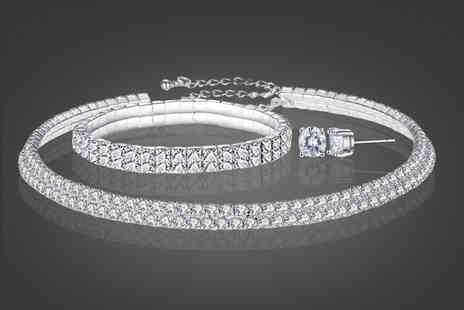 Your Ideal Gift - Double row tri set made with crystals from Swarovski - Save 87%