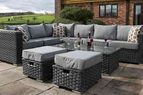 Groupon Goods Global GmbH - Yakoe Papaver Eight or Nine Seater Rattan-Effect Sofa Set with Optional Cover With Free Delivery - Save 0%