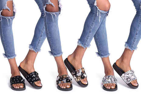 Linzi - Pair of floral sequin sliders - Save 40%