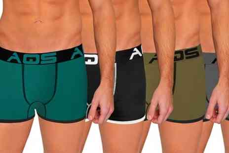 AQS Brand - AQS Mens Threaded Boxer Briefs 6 Pack With Free Delivery - Save 0%