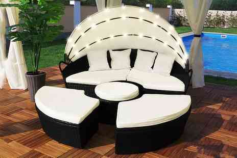 Groupon Goods Global GmbH - Rattan Effect Led Sun Island with Optional Cover With Free Delivery - Save 0%