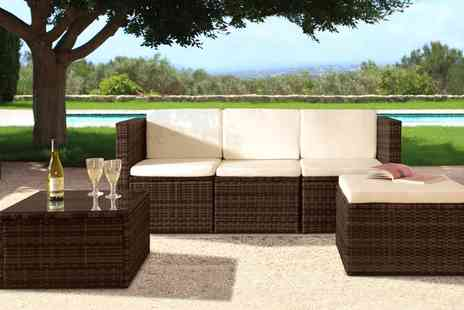 Groupon Goods Global GmbH - Mustique Four Seat Rattan Effect Lounge Set with Optional Cover With Free Delivery - Save 0%