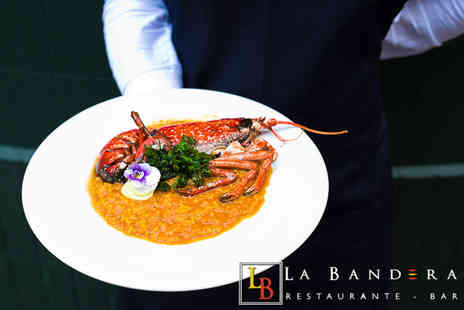 La Bandera Restaurante - Two course Spanish dining for two people with a glass of wine or beer each - Save 66%