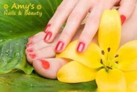 Amys Nails & Beauty - Shellac Manicure and Pedicure - Save 72%