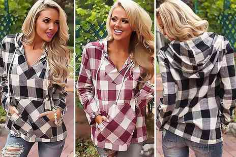 Paperdollz - Hooded checked shirt choose from two colours - Save 73%