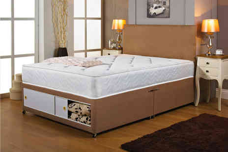 Beds 24hr - Brown fabric divan bed with headboard and memory mattress choose from six sizes with up to four drawers - Save 80%
