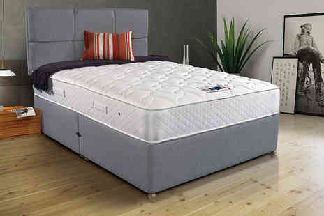 DUREST BEDS - Grey memory foam cubed divan bed with headboard and mattress choose from a range of size and drawer options - Save 79%