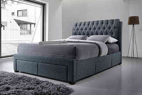 Majestic Furnishings - Adesigner four drawer grey fabric storage bed or to include a mattress - Save 72%