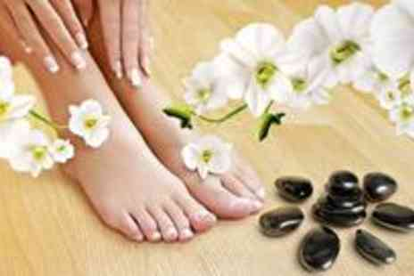 Envisage - Full set of pink or white nail enhancement extensions plus a pedicure - Save 85%