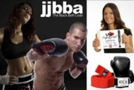 JJBBA Martial Arts - Kickboxing Eight Beginners' Group Lessons and One Private Lesson Plus Pair of Boxing Gloves For Two - Save 85%