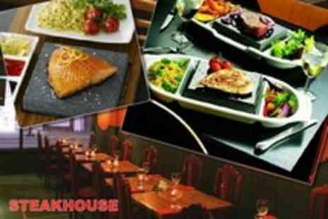 Steakhouse - Exotic Hot Stone Steak Meal With Wine For Two on Sunday to Thursday - Save 55%