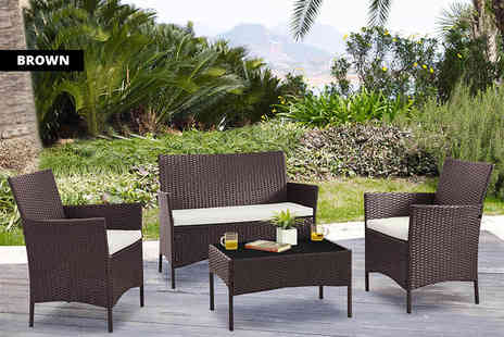 UK Furniture Store - Four piece durable poly rattan set - Save 81%