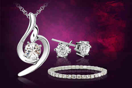 Your Ideal Gift - White gold plated cubic zirconia tri set made with crystals - Save 90%