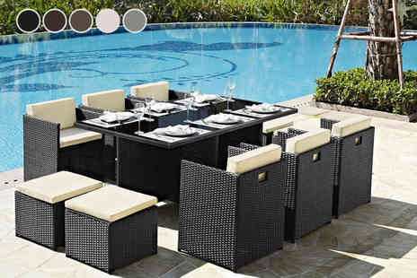 UK Furniture Zone - 11 piece rattan garden furniture set with cover - Save 69%