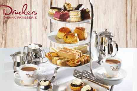 Druckers Vienna Patisserie - Afternoon Tea for Two with Optional Four Slice Treat Box to Take Away - Save 31%