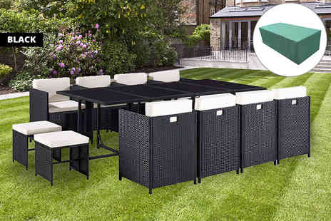 UK Furniture Zone - Durable poly rattan 13pc garden furniture set with cover choose from five colours - Save 73%