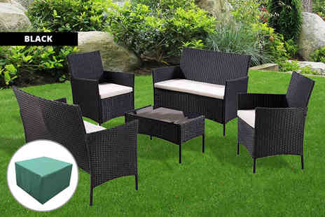 UK Furniture Zone - Five piece rattan garden furniture set with cover - Save 76%