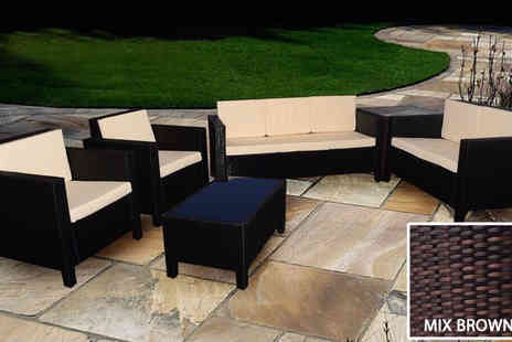 Giomani Designs - Brown seven seater rattan garden furniture set - Save 60%