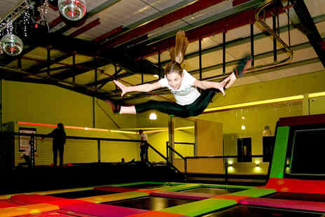 Planet Leisure - Activity day experience for one child or adult including a 55 minute trampoline park bounce session, one game of bowling and either one game of laser quest or 90 minutes of rollerskating, £39 for a family ticket for two adults and two children - Save 47%