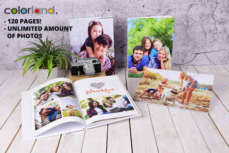 Colorland - Landscape or portrait 120 page personalised A4 photobook - Save 83%