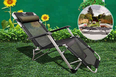 Your Essential Store - One reclining sun lounger chair with pillow choose from three colours - Save 71%