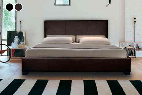 Dining Tables - An Italian faux leather bed include a mattress choose black or brown - Save 84%