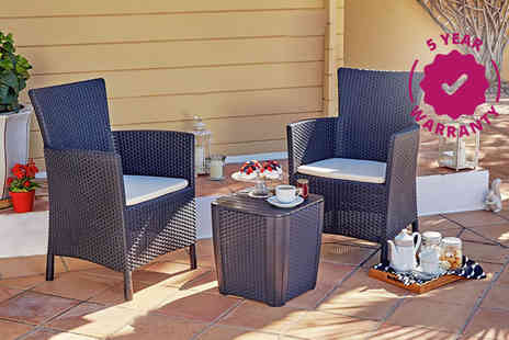 Debut Trading - Keter two seater rattan bistro set with storage choose from two colours - Save 49%