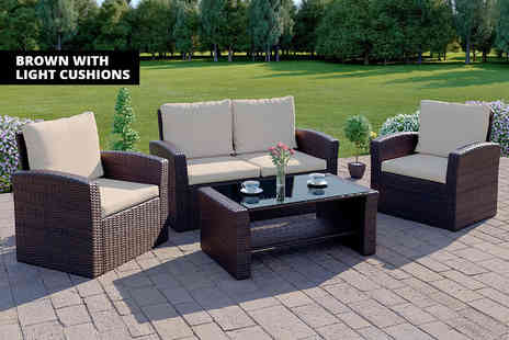 Abreo - Four piece poly rattan sofa set choose from two colours - Save 58%
