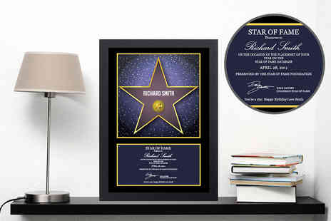 Deco Matters - An A4 personalised walk of fame star certificate - Save 73%