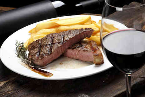 Piccolino - Rib eye steak or sea bass dinner for two people with a glass of wine to share or two people with a bottle of wine or four people with a glass of wine each - Save 65%