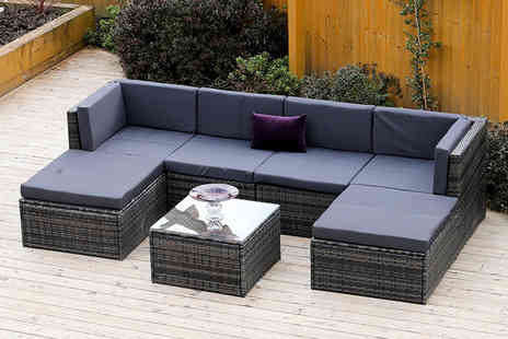 Abreo - 7pc rattan corner sofa set choose from three colours - Save 68%