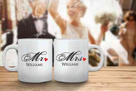 Deco Matters - Two personalised Mr and Mrs mugs - Save 50%