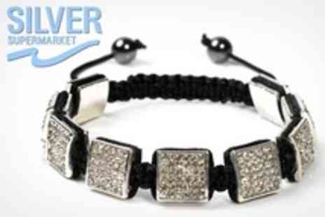 Silver Supermarket - Three Square Shamballa Style Bracelet in Range of Colours - Save 70%