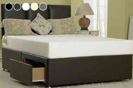 Dining Tables - Designer faux leather bed choose from six sizes with optional drawers - Save 82%