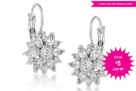 GameChanger Associates - Floral daisy clasp earrings with cubic zirconia crystals - Save 90%