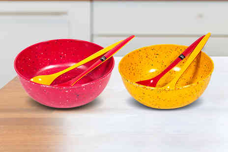 Dream Price Direct - A confetti salad bowl and server set - Save 65%