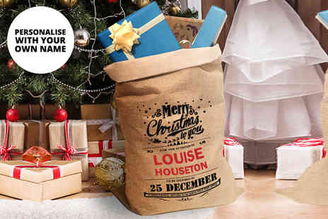 Deco Matters - Personalised hessian Christmas sack for two choose from five designs - Save 60%