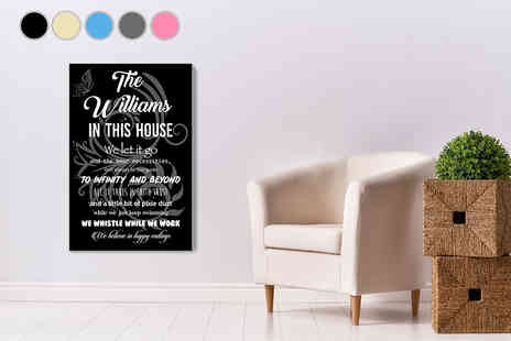 Deco Matters - An A3 Disney inspired personalised house rules canvas - Save 80%