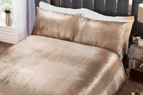 Groupon Goods Global GmbH - Velvet Touch Shimmer Duvet Sets in a Choice of Colour and Size - Save 56%