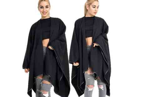 Verso Fashion - Black fleece wrap around cape shawl - Save 67%