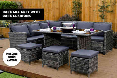 Abreo - Nine seater durable polyrattan corner outdoor sofa and dining table set - Save 66%